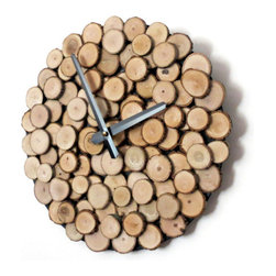 "Rustic Wall Clock, Living Room Wall Clock - This rustic wood wall clock will add just the right dose of warmth to any decor.  Each slice of wood has been securely attached by hand to a 12"" vinyl record to create a woodpile effect.   The homey feel of this clock makes it the perfect housewarming, Christmas or Father's Day gift."