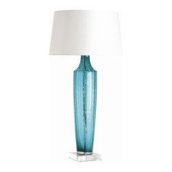 Arteriors - Wilhelmina Lamp, Turquoise - This bottle-shaped lamp lets you see the light in a totally new way. Colorful ribbed glass is mounted on a square acrylic base and topped with a white microfiber shade.