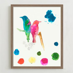 """Bird Sketches #1"" Framed Print - Bird-themed art is nothing new, and I love the bright pops of color in this print."