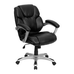 Flash Furniture - Flash Furniture Mid-Back Black Leather Office Task Chair - GO-931H-MID-BK-GG - Very appealing mid-back office chair will highlight any office or home setting. Plush leather upholstery provides comfort with the extra Thick padded seat and back. Built-in lumbar support will provide comfort when working for long hours. chair features a silver nylon base with back caps that prevent feet from slipping. For your next office chair, look no further than this extremely comfortable and stylish leather office chair! [GO-931H-MID-BK-GG]