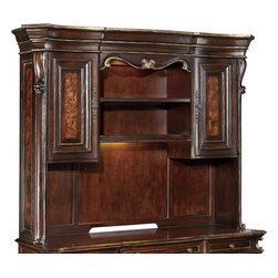 "Hooker Furniture - Hooker Furniture Grand Palais Computer Credenza Hutch - The essence of luxurious European traditional style, Grand Palais features bold scaling, dramatic shaping and exquisite design details. Two doors with two adjustable shelves behind each. One adjustable wood-framed glass shelf. One light. One task light. Hardwood Solids with Walnut, Mappa Burl, Ebony and Cherry Veneers with Resin. Dimensions: 77.25""W x 20""D x 60.25""H."