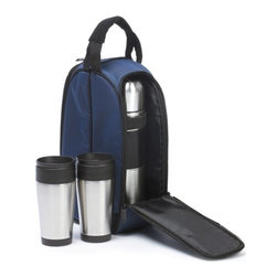 """Picnic Plus - Coffee Companion, Navy - Picnic Plus Coffee Companion Travel Mug, Thermos Bottle Coffee Set, Navy. Color/Design: Navy; Durable 600D polyester exterior; With two large stainless steel travel mugs; Full size 1L stainless steel vacuum flask. Dimensions: 9""""W x 6""""D x 14""""H"""