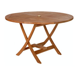 All Things Cedar - Teak Round Table - Our Tables constructed of solid Teak using mortise and tennon joinery. The table is offered in a 48 inch round or octagon shape and has 1-7/8 inch umbrella hole with lower pole Stabilizer Bar. Brass pole  grommet and cap included. Item is made to order.