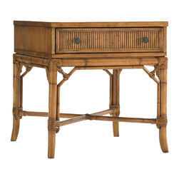 Lexington - Lexington Beach House Heron Lamp Table 540-953 - The intricate leather-bound rattan detailing on the cross stretcher and reeded drawer front give a sophisticated look. Finished on all four sides makes this piece ideal by a chair or sofa that extends into the room.