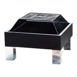 """HotSpot Square Fire Pit - We are pleased to offer the finest in British design and quality in the HotSpot Square Fire Pit.  Constructed of pressed steel and stainless steel, this sturdy and attractive fire pit is built to last.  The Square Fire Pit features a 26"""" x 26"""" steel fire Blox with stainless steel legs. Comes complete with dome spark screen."""