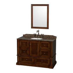 "Wyndham Collection - Rochester Bathroom Vanity in Cherry, Brown Granite Top, UM Sink, 24"" Mirror - Old world charm meets modern functionality with the Rochester line of traditional bathroom vanities. Designed to look great in any setting, from modest country home to palatial estate, the Rochester vanities will revive and renew your personal sanctuary. Natural stone tops give a touch of additional luxury and the antique bronze hardware adds the finishing touch. The down-to-the-floor base imparts a sense of weight and grandeur, while ample cupboard and drawer storage ensures the quality and practicality that the Wyndham Collection is known for."