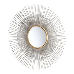 Cyan Design - Cyan Design Pixley Medium Modern / Contemporary Round Mirror X-83550 - An interior Guilded Gold ring provides the perfect buffer for the smooth mirrored facade and textured frame of this Cyan Design wall mirror. From the Pixley Collection, this contemporary mirror features a sunburst pattern, with alternating lengths and an Antiqued Silver Leaf finish.