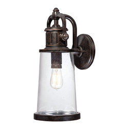 Quoizel - Quoizel SDN8408IB Steadman Outdoor Wall Lantern - This fixture gives the exterior of your home both beauty and an industrial sense of design.  It features a vintage bulb for a historic look and is enhanced by the clear seedy glass.  The Imperial Bronze finish completes the look.