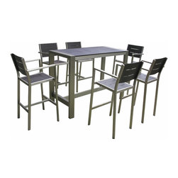 MangoHome - OUTDOOR PATIO WICKER FURNITURE ALUMINUM 7PC DINING BAR TABLE & BARSTOOLS Set - OUTDOOR PATIO WICKER FURNITURE NEW ALUMINUM RESIN 7-PIECE DINING BAR TABLE & BARSTOOL SET