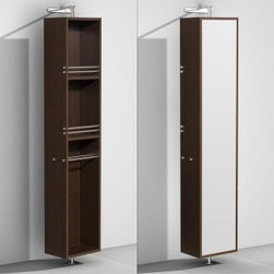 "Wyndham Collection - Wyndham Collection 14"" Amare Rotating Floor Cabinet w/ Mirror - The Amare rotating wall cabinet with mirror takes modern looks and bathroom storage to the next level with its clever design. Featuring a space-saving design which rotates 360 Degrees this cabinet combines a full length mirror on one side with three large storage spaces and integrated towel racks on the other. This unit mounts to the floor and wall and metal mounting hardware is included."