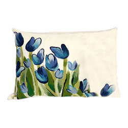 """Trans-Ocean - Allover Tulips Blue Pillow - 12""""X20"""" - The highly detailed painterly effect is achieved by Liora Mannes patented Lamontage process which combines hand crafted art with cutting edge technology.These pillows are made with 100% polyester microfiber for an extra soft hand, and a 100% Polyester Insert.Liora Manne's pillows are suitable for Indoors or Outdoors, are antimicrobial, have a removable cover with a zipper closure for easy-care, and are handwashable."""