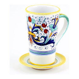 Artistica - Hand Made in Italy - RICCO DERUTA: Tall Mug 16 oz. with Saucer - RICCO DERUTA: This product is part of the renown Ricco Deruta Collection.
