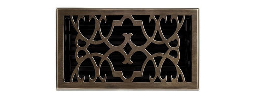 "Brass Elegans 120GR AB Brass Decorative Floor Register Vent Cover - Victorian Sc - This antique brass finish solid brass floor register heat vent cover with a victorian scroll design fits 6"" x 10"" x 2"" duct openings and adds the perfect accent to your home decor."