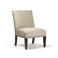 Linen Chair with Nailhead Trim - Come on in and sit right down. This inviting chair features a refreshingly clean appearance in its seating area and backrest. Yet the incorporation of the industrial-inspired trim and warm legs provide you with a welcome contrast to admire.
