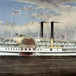 People's Line - Hudson River, The Palace Steamers of The World 12.408 x 22 Art P - People's Line - Hudson River, The Palace Steamers of The World by Currier and Ives Size: 12.408 x 22 Art Print Poster. Canvas Transfer stretched and canvas museum wrap. Comes ready to hang. Canvas board is an off white color.