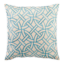 DL Rhein Circle Link Turquoise Embroidered Pillow
