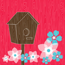 Murals Your Way - Bird House - Hot Pink Wall Art - Painted by Simon & Kabuki, Bird House - Hot Pink wall mural from Murals Your Way will add a distinctive touch to any room