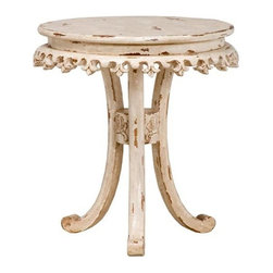 """Guildmaster - Fleur-De-Lis Bib by Table by Guildmaster - Three carved legs arch upwards to support a round top detailed with a Fleur-de-lis bib around the perimeter. Mild distressing offers character to the Crossroads Rosa finish. Constructed of solid wood, this is a darling table for a bathroom, bedroom or family room. (GM) 27"""" wide x 28.5"""" high x 27"""" deep"""
