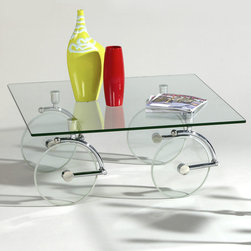 Chintaly Imports - Glass Caster Cocktail Table - Features: