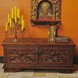 """Carved Spanish colonial dowry chest - BC-CHST-09: This beautifully hand-carved Spanish colonial chest measures 48"""" L x 19 3/4"""" D x 20"""" H. Featuring bullet carving, open-faced dovetailed joinery on the front and a superbly carved rope molding around the base."""