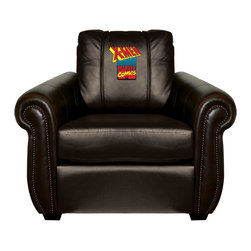 Dreamseat Inc. - X-Men Comic Chesapeake Brown Leather Arm Chair - Check out this Awesome Arm Chair. It's the ultimate in traditional styled home leather furniture, and it's one of the coolest things we've ever seen. This is unbelievably comfortable - once you're in it, you won't want to get up. Features a zip-in-zip-out logo panel embroidered with 70,000 stitches. Converts from a solid color to custom-logo furniture in seconds - perfect for a shared or multi-purpose room. Root for several teams? Simply swap the panels out when the seasons change. This is a true statement piece that is perfect for your Man Cave, Game Room, basement or garage.