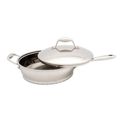 Berghoff - Berghoff Zeno Covered Sauté Pan 3-Quart - Durable 18/10 Surgical Stainless steel on outer surface. Healthier waterless and/or oil free cooking when pan in preheated. Cookware works on all cook top surfaces including induction. Revolutionary 6-layer sandwich base providing energy efficiency and fast heat transfer. Suitable for all heat sources including induction.