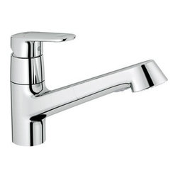 """Grohe - Grohe 32946002 Starlight Chrome Europlus Europlus Pullout Spray - Product Features:All-brass faucet body construction ensures durability for a lifetimeCovered under Grohe s limited lifetime warrantyGrohe faucets are exclusively engineered in GermanyFinishes will resist corrosion and tarnishing through everyday use - finish covered under lifetime warrantyGrohe kitchen faucets will surprise and delight the user with every interactionThe perfect synthesis of form and functionSingle handle operationPullout spray faucet head enhances faucet s versatilitySpout swivels 120-degrees providing greater access to more areas of the sinkADA compliantProduct Technologies / Benefits:Starlight Finish: Continuously improving over the last 70 years Grohe's unique plating process has been refined to produce and immaculate shiny surface that is recognized as one of the best surface finishes the world over. Grohe plates sub layers of copper and/or nickel to ensure that a completely non-porous, immaculate surface awaits the chrome layer. This deep, even layered chrome surface creates a luminous and mirror like sheen. Grohe finishes are life tested to withstand 60,000 """"wipes"""" with an abrasive cloth.SilkMove Cartridge: The rich and smooth handling of our single lever faucets conveys pure quality. As you change the temperature from hot to cold, one ceramic disc glides effortlessly across the other with absolute precision. These cartridges are manufactured in a high-tech process and feature discs made from a space-proven ceramic alloy. The SilkMove cartridge is yet another example of design and technology fusing to bring you an enhanced water experience.QuickFix Plus: Precision engineering has enabled Grohe to simplify the installation process by reducing the complexity and number of parts required to fit a product. This installer-focuse"""