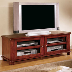 Coaster - 700609 TV Console - Walnut finish TV console with storage can hold up to a 100 lb. television.