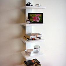 Contemporary Wall Shelves Spine Wall Book Shelves White