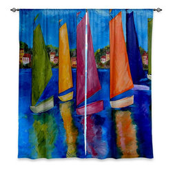 """DiaNoche Designs - Window Curtains Lined by Patti Schermerhorn Reflections of Tortola - DiaNoche Designs works with artists from around the world to print their stunning works to many unique home decor items.  Purchasing window curtains just got easier and better! Create a designer look to any of your living spaces with our decorative and unique """"Lined Window Curtains."""" Perfect for the living room, dining room or bedroom, these artistic curtains are an easy and inexpensive way to add color and style when decorating your home.  This is a woven poly material that filters outside light and creates a privacy barrier.  Each package includes two easy-to-hang, 3 inch diameter pole-pocket curtain panels.  The width listed is the total measurement of the two panels.  Curtain rod sold separately. Easy care, machine wash cold, tumble dry low, iron low if needed.  Printed in the USA."""
