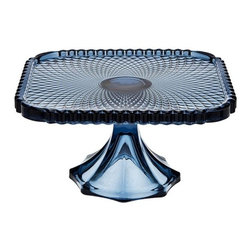 "Godinger Silver - Crystal Belmont Blue Square Cake Plate - Serve your favorite cakes, pies, and appetizers with our classic yet contemporary blue crystal cake plate.  A unique way to add a special touch to any event, this lovely cake plate creates a beautiful presentation and will leave a lasting impression on your guests. Our high quality cake stand is footed, providing a magnificent crystal centerpiece to display and serve your favorite baked confections.    * Dimensions: L: 7.5"" W: 7.5"" H: 4"""