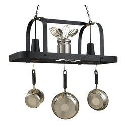 Hi-Lite MFG - Baker 2-Lite Pot Rack in Black Leather Finish - Includes six pot rack hooks, 3 ft. chain and 7 ft. wire. Accepts 2 medium bulbs, 75 watts (not included). Accessories not included. UL listed. Made from steel. 36 in. L x 15 in. W x 15 in. HHi-Lite achieved success through attention to detail and stubbornness to only manufacturer the highest quality product. Hi-Lite has built its reputation as a premier lighting manufacturer by using only the finest raw materials, inspirational designs, and unparalleled service. This allows us great flexibility with our designs as well as offering you the unique ability to have your custom designs brought to light.