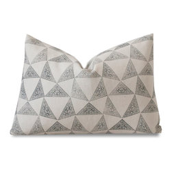 Susan Connor New York - Facet Cushion - Three Sizes, 12x18 - The ground color of this print is similar to artist canvas, and this style works well in spaces featuring natural materials like wood, tile, stone or brick. It's versatile shape and size works for seating, or in a pair, as accents on bedding. For a striking, simplified look, pair with designs in white and black or gray.