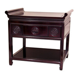 """Oriental Furniture - 22"""" Rosewood Altar Table - Rosewood - An exceptionally well crafted, solid Rosewood nightstand, built with a classic Ching style """"winged"""" table top; a distinctive, unique decorative design. The convenient top drawer is carved with a series of three auspicious """"Shou"""" symbols, labyrinth like medallions thought to encourage happiness and long life. Finely finished Rosewood both looks and feels beautiful, with a wonderful, rich, elegant wood texture. Crafted in a small wood working cooperative of master craftsman in southern Guangzhou, we are proud to be the exclusive U.S. importer of these stunning cabinets."""