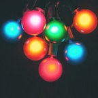 """G50 Globe Party Light String Set - Multicolored Bulbs - Use this multicolored string of fifteen 2"""" diameter bulbs to add a festive flair to your next outdoor gathering! The 15-foot string is  UL listed for indoor or outdoor use."""