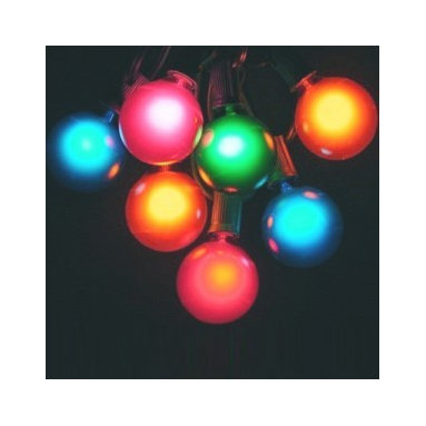 "G50 Globe Party Light String Set - Multicolored Bulbs - Use this multicolored string of fifteen 2"" diameter bulbs to add a festive flair to your next outdoor gathering! The 15-foot string is  UL listed for indoor or outdoor use."