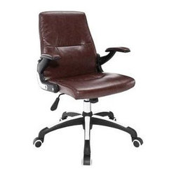 """LexMod - Premier Highback Office Chair in Brown - Premier Highback Office Chair in Brown - Lead your way forward with the Premier high back office chair. Finely upholstered in padded vinyl, Premier both supports your entire seating region in utmost comfort, while instilling a sense for having achieved some hard-earned dignity. Premier comes with padded vinyl arms, a dual-toned polished aluminum and nylon base, and five dual-wheel hooded casters, to top off this exceptionally modern chair with a dynamic twist. Set Includes: One - Premier Highback Office Chair Padded vinyl waterfall seat pan, Dual-tone aluminum and nylon base, Dual-wheel white-rimmed casters, Padded vinyl high back, Vinyl padded nylon armrests, Height adjustable, Tilt mechanism Overall Product Dimensions: 25""""L x 25""""W x 37.5-40.5""""H Seat Dimensions: 18.5""""L x 19""""W x 17.5-20""""HBACKrest Dimensions: 2.5""""L x 21""""H Cushion Thickness: 2.5""""H Armrest Height: 8""""H - Mid Century Modern Furniture."""