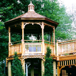 Gazebo as Deck Extension - This customer extended his deck and built a 12' gazebo on stilts, great idea and not uncommon. Below the gazebo is storage room for lawn furniture.