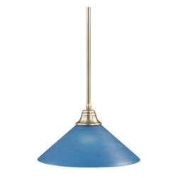 """Toltec - Toltec 26-BN-415 Brushed Nickel Finish Stem Pendant with 16"""" Blue Italian Glass - Toltec 26-BN-415 Brushed Nickel Finish Stem Pendant with 16"""" Blue Italian Glass"""