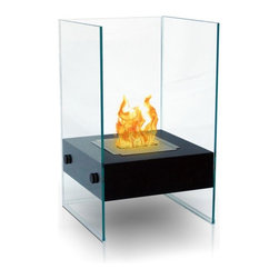 Anywhere Fireplaces - Anywhere Fireplace Hudson, Indoor-Outdoor - The unique and stylish Hudson model Anywhere Fireplace  will add elegance and sophistication to your  space, indoors or outdoors. Not small, yet not big, but  don t be mistaken, it will add large impact to any space. Its flames will dance between to glass on 3 sides while it warms up your room and atmosphere. Place it on the floor, a table top, on a stand or wherever you can admire its beautiful real flames. The body is made with an outdoor grade powder coating so you can also use it outdoors as well as indoors and the outdoor elements will not affect its satin black finish. You will not want to leave the burner outdoors however, because you don't want water to get into it. USE ONLY liquid bio-ethanol fuel made for ventless fireplaces. NEVER SUBSTITUTE ANY OTHER FUEL IN PLACE OF LIQUID FUEL FOR VENTLESS FIREPLACES. ALWAYS READ ALL INSTRUCTIONS ON YOUR FIREPLACE AND THE FUEL BOTTLE
