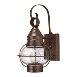 Hinkley Lighting - Hinkley Lighting 2206SZ Cape Cod Transitional Outdoor Wall Sconce - Small - Cape Cod's classic onion lantern design conveys classic New England style. The solid brass construction and clear seedy glass add vintage appeal.