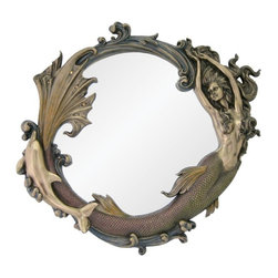 TLT - 24 Inch Bronze Mirror with Engraved Mermaid Playing with Dolphin - This gorgeous 24 Inch Bronze Mirror with Engraved Mermaid Playing with Dolphin has the finest details and highest quality you will find anywhere! 24 Inch Bronze Mirror with Engraved Mermaid Playing with Dolphin is truly remarkable.