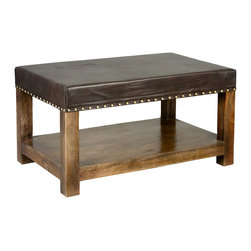 "Sierra Living Concepts - Leather Upholstered & Mango Wood 34"" 2-Tier Coffee Table Bench Ottoman - Our active life styles demand multi-functional furniture like our Dallas Ranch Upholstered Coffee Table Bench. This classic rectangular coffee table features a bottom shelf for extra storage and a hand tacked leather top that functions as a table top or seat bench."