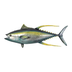 """EttansPalace - """"Yellowtail Tuna"""" Ceiling Mount Trophy Sculpture - Catch the sport fish prized for speed and strength! Though its real-life counterparts often weigh up to 400 pounds, our over five-foot-long game fish trophy is much more easily displayed with the included ceiling mount eye hooks. Our grand-scale deep water game fish sculpture is cast in quality designer resin reinforced with fiberglass for strength, and hand-painted for authenticity from its bright yellow fins and tail to its dark metallic blue body. This large-scale, display-quality animal sculpture transforms any home, garden, restaurant or hotel into something truly magnificent!"""