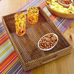 Rattan Tray, Honey - Add a layer of texture to your room with this honey rattan serving tray. Use it on for serving snacks and cocktails, to create a flat surface on an upholstered ottoman, or to help organize your papers in the office.