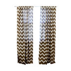 "ichcha - Chevron Window Curtain, Taupe, 84"" - Block printed Chevron with natural dye Taupe on off white, light weight cotton window panel."