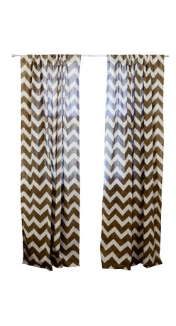 """ichcha - Chevron Window Curtain, Taupe, 84"""" - Block printed Chevron with natural dye Taupe on off white, light weight cotton window panel."""