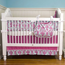 Maddie Boo Ava 3 Piece Crib Set - Put a modern pop of color into your baby girl's room with this damask. A bold take on the classic print, blue and pink collide for a truly unique look. How wonderful this would look against blue, light pink, and even navy walls.