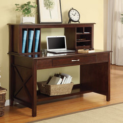 """Adeline Desk with Hutch - Solid Wood Mocha Finish Desk - Adeline Desk with Hutch. The Adeline Desk & Hutch speaks to the well-organized and productive individual that prefers a functional, yet elegant workspace in the home. Adeline computer wood desk with drawer made from kiln-dried solid wood and veneers with a custom rich """"Mocha"""" finish."""