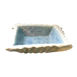 Maggie Minor Designs - Ceramic Square Bowl with Layered Blue Glaze - Organic-inspired ceramic square bowl with layered blue glazes. Perfect piece for an entrance hall table or accent piece on a coffee table. Handmade and thus thoroughly unique. Only one made. Looks great paired with smaller square bowl also on this site.